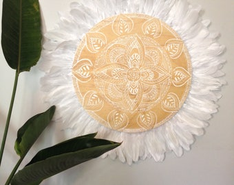 Mandala White Dream design Natural Timber White Feathers Round Wall Art, ,  Natural Timber Porthole