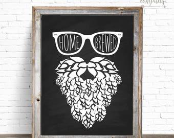 Hop Beard Homebrewed 8x10 Instant Download Sign