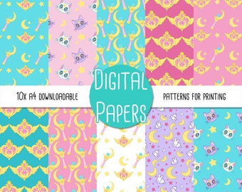 Sailor Moon A4 Digital Paper - Instant Download for Printing and Scrapbooking