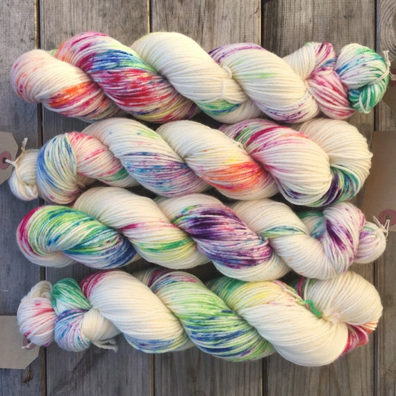 Industrial Accident DK, indie dyed multicolour speckle rainbow merino nylon sock yarn