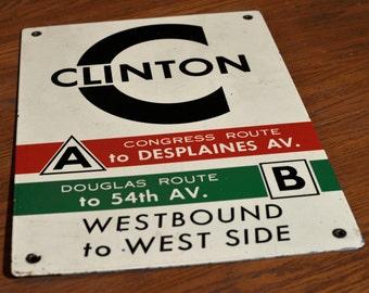 Vintage Clinton Stop Chicago Transit Authority Porcelain Sign - CTA Chicago, Illinois Subway L Train