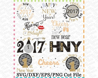 EXCLUSIVE Happy New Year svg, new years eve svg, happy new year svg cutting file, Kiss me at midnight SVG Cutting File, 1st new years svg