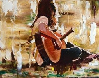 """Painting of a Girl and her Guitar, 16""""x12"""""""