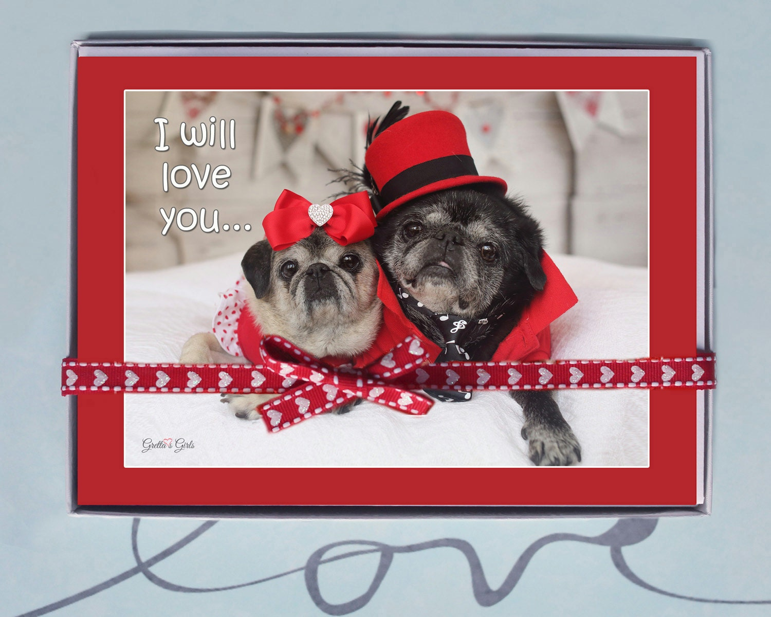 BOX OF 10 5X7 CARDS I Will Love You  Funny Valentines Day Card