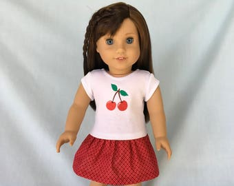 Cherry T-Shirt and Red Print Skirt for American Girl/18 Inch Doll