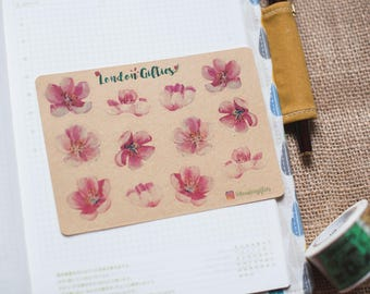 Pink cherry blossoms - decorative vintage kraft flower watercolour planner stickers suitable for any planner -424-