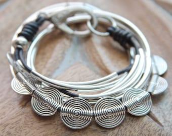 Silver Leather Wrap Bracelet, Boho Bracelet, Arm Candy, Stack Bracelet, Black Leather, Noodle Bracelet, Crescent Bead, Sterling Silver