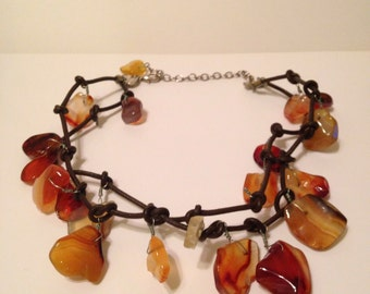 Amber Stone and Leather Big Bold Chunky Statement Necklace