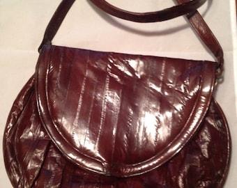 On Sale Vintage Genuine Eel Skin Burgundy Bag Purse