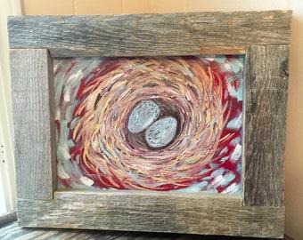 Birds Nest Painting- Birds Nest- Bird Decor- Bird Lover- Gift for Bird Watcher- Family Tree- Gift for Mom- Cardinal Painting- Bluebird Art