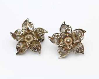 Antique Filigree Clip-On Earrings With Lovely Old-World Detail in 800 Silver. [12237]