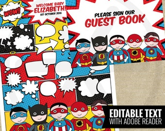 Superhero Guest Book Alternative. Comic Book Guest Book. Guest Signs. Kids Birthday Party - Baby Shower Guests Keepsake. Printable Editable