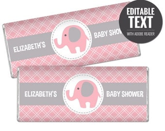 Elephant Chocolate Bar Wrappers - Pink and Gray Chocolate Bar Wraps - Printable Girl Baby Shower Favors - Editable Large Candy Bar Labels