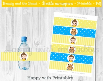 Beauty and the Beast Bottle wrappers - Princess Belle Bottle wrappers - Belle and the Beast Printables - Beauty and the Beast party - Belle