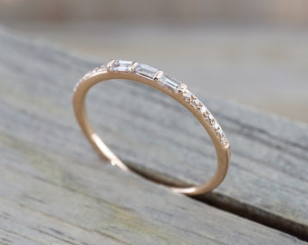 14kt Rose Gold Round Brilliant And Baguette Cut Diamond Ring Engagement Wedding Band Promise Fashion Design Stackable Stacking