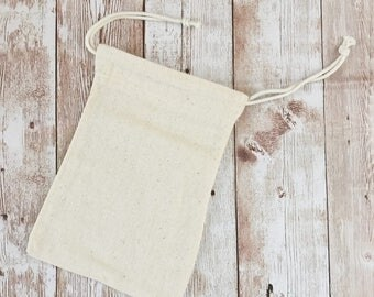 "Muslin Bag, 10x15cm, 4""x6"", Plain Cotton Drawstring Pouch, Great for Stamping"