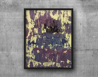 "Purple White Abstract Oil Painting 8""x10"" - Heavily-Textured Pallette-knife Wall Art Home Decor on Primed Canvas - Wired Ready to Hang"
