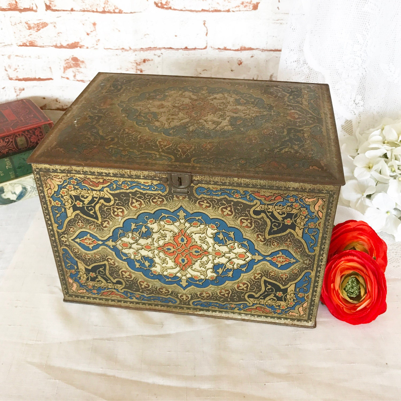 Huge antique art deco tin litho lock box vintage advertising - Deco tuin ...