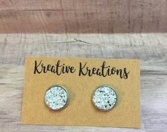 Sparkling silver faux druzy earrings
