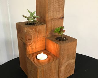 Wooden candle/ succulent holders (with Tealights)