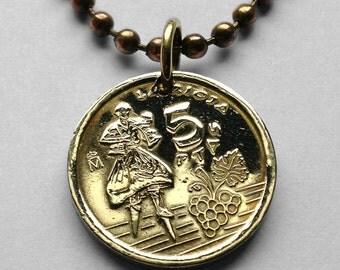 Spain 5 Pesetas coin pendant La Rioja Dancer of Anguiano Revellín Porch necklace Spanish province Logroño Liberian España n000230
