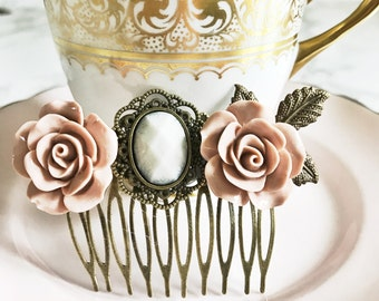 Hair comb, ornate hair accessory,bronze,dusty pink, bridesmaid, flower girl, vintage