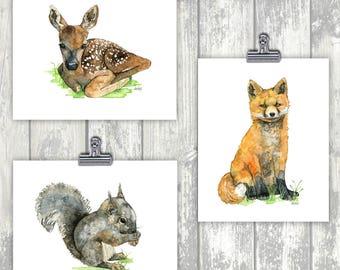 Woodland Nursery Animals Set of 3 - Watercolor Prints, Baby Animal Watercolor, Woodland Animals, Print Set, Nursery Prints, Nursery Wall Art