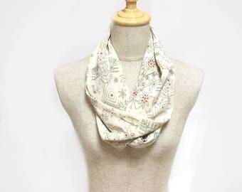 Kimono silk scarf, infinity scarf, made in Japan,  kimono scarf, gift for her, kimono fabric, OOAK, eco friendly