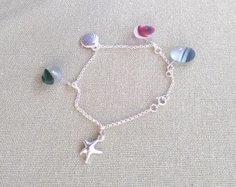 "Handmade Sterling Silver 7"" Sea Glass Mermaid Starfish Shell Charm Bracelet Made With English Seaham Multi Seaglass - Pink Green Teal Honey"