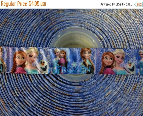 "HOT DEAL FROZEN Elsa Anna 7/8"" 22mm Grosgrain Hair Bow Craft Ribbon 782969"