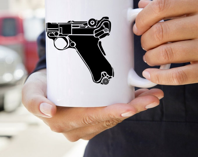KillerBeeMoto:  U.S. Made German Luger 9MM Pistol On A Coffee Mug