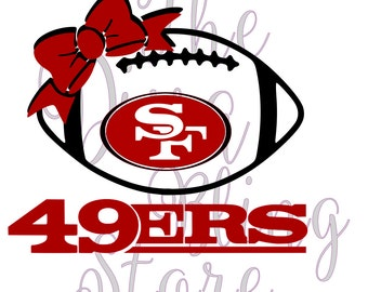 49ers  Inspired Football with Bow  SVG FIle
