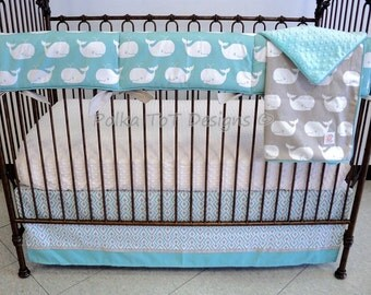Bumperless Whale Baby Bedding Teal & Taupe : Moby