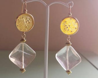 Handmade Yellow Carved Jade Earrings with Yellow Quartz, Pastel Earrings, Yellow Earrings, Asian Inspired Earrings, Gift for Her