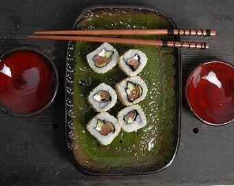 Gift for men, Sushi Set, Rustic Sushi Set, Serving Ceramic Sushi Dishes, Serving Sushi Plate