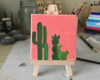 Cactus Painting, Hand Painted, Desk Art, Cactus Decor, Mini Canvas, Canvas Art