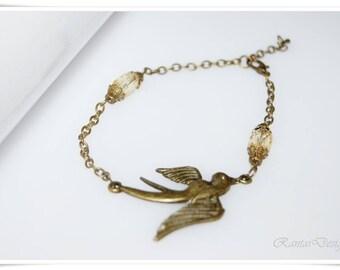 Bracelet vintage Dove bronze bracelet pigeon