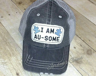 I am Au-some Autism Awareness Puzzle Piece Distressed Trucker Hat