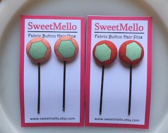 Fabric Button Hair Pins