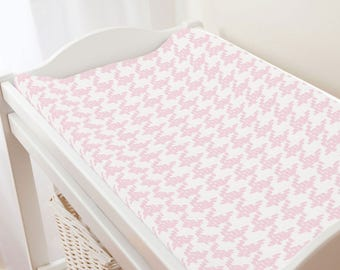 Carousel Designs Pink Modern Houndstooth Changing Pad Cover