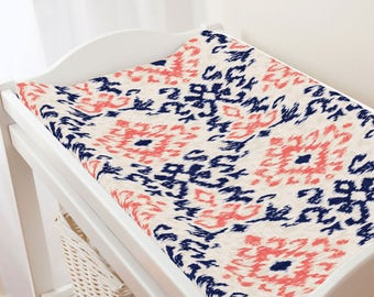 Carousel Designs Navy and Coral Ikat Damask Changing Pad Cover