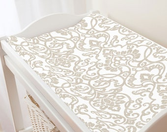 Carousel Designs Taupe Filigree Changing Pad Cover