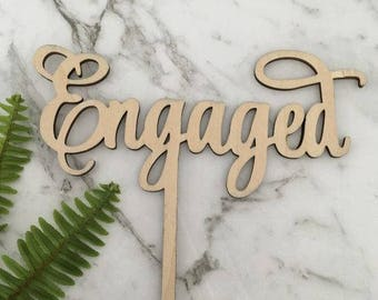 Engaged Rustic Wood Wedding Engagement Party Cake Topper
