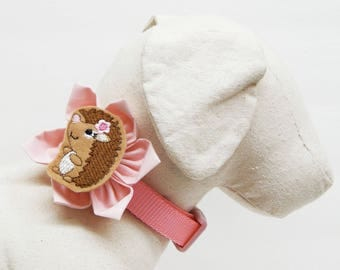 Collar Flower & Hedgehog Feltie for Dogs and Cats