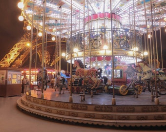 Paris Photography, Carousel in Paris, Carousel with Eiffel Tower, French Travel Photograph, Wall Decor, Paris Nursery Art