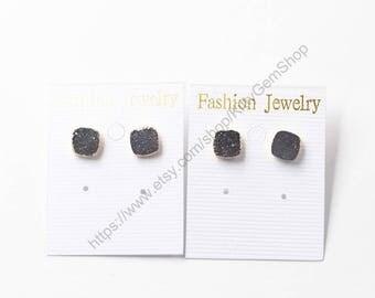 SALE Druzy Stud Earrings -- With Electroplated Gold Edge Handmade Drusy Wholesale bridesmaid Jewelry earrings YHA-235