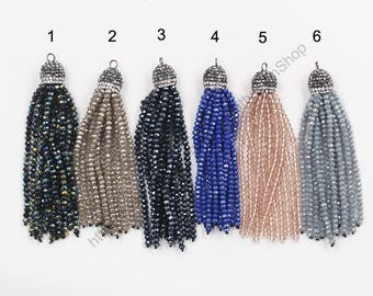 Crystal Beads Tassel Pendant With Pave CZ Diamond Zircon Head YHA-276