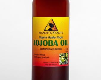 4 oz JOJOBA OIL GOLDEN Organic Carrier Unrefined Cold Pressed Virgin Raw Pure