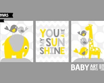 Yellow Grey Nursery canvas art, Set of 3 8x10. You are my sunshine quote print, Elephant, Giraffe ( S81012)
