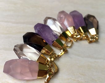 Faceted Quartz Druzy Pendant // Amethyst Rose Quartz Smoking Quartz Healing Crystal Pendant with Gold Electroplated Edges // Gold Necklace